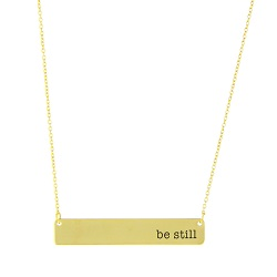 Be Still Bar Necklace bar necklace, text bar necklace, gold bar necklace, engraved necklace, missionary necklace, sister missionary necklace, be still, be still necklace