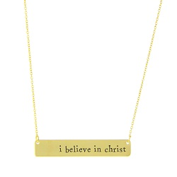 I Believe in Christ Bar Necklace bar necklace, text bar necklace, gold bar necklace, engraved necklace, missionary necklace, sister missionary necklace, believe in christ, believe, belief, i believe in christ, i believe in christ necklace