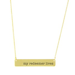 My Redeemer Lives Bar Necklace bar necklace, text necklace, antique-looking necklace, text bar necklace, gold bar necklace, my redeemer lives, my redeemer lives necklace