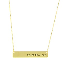 Trust the Lord Bar Necklace bar necklace, text necklace, antique-looking necklace, gold bar necklace, trust the lord, trust the lord necklace