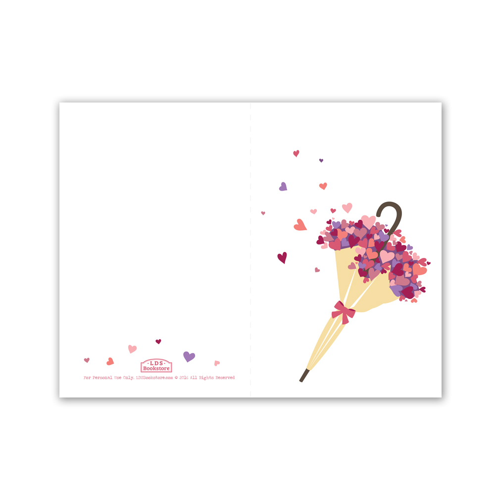 graphic regarding Valentines Day Cards Printable identify Umbrella Center Bouquet Valentines Working day Card - Printable inside of