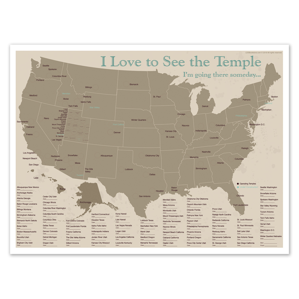 United States Temple Map In Posters Ldsbookstorecom Ldp Pst40229 - Us-map-poster