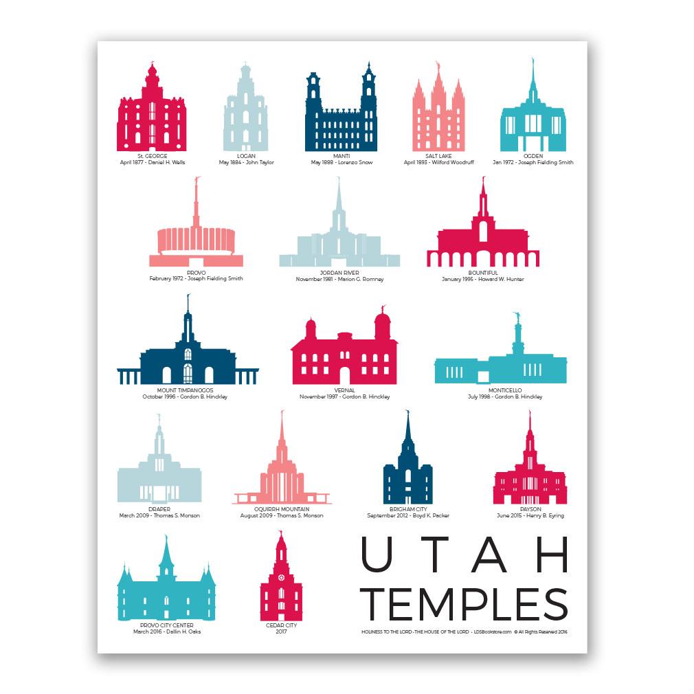 Utah Temples Poster - 5 Designs - LDP-TPSTUT