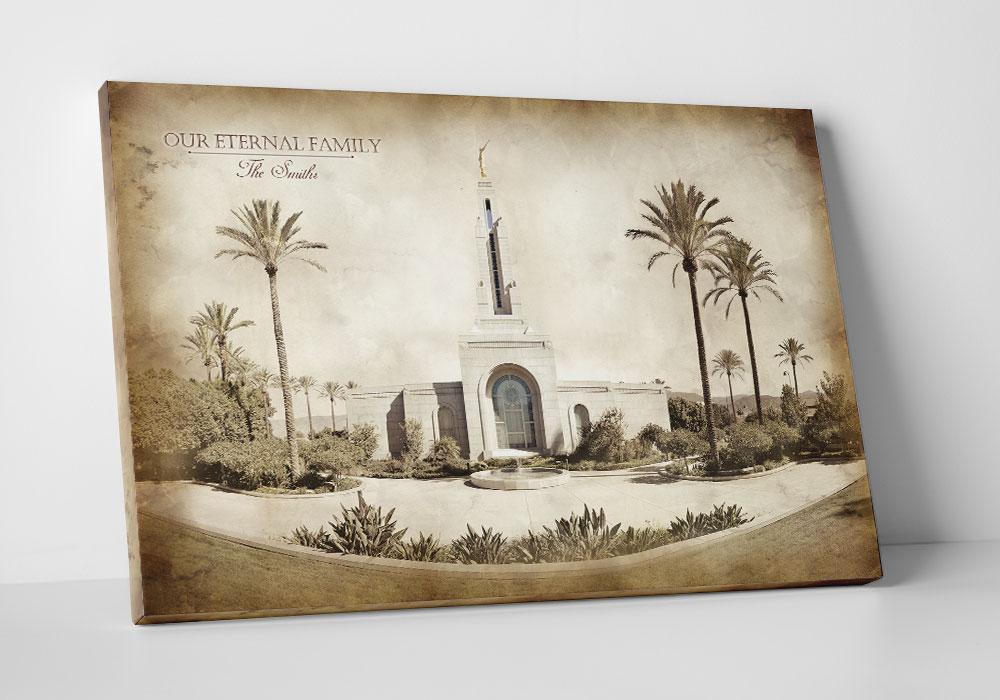 Redlands Temple - Vintage Canvas Wrap in Framed Temple Art ...