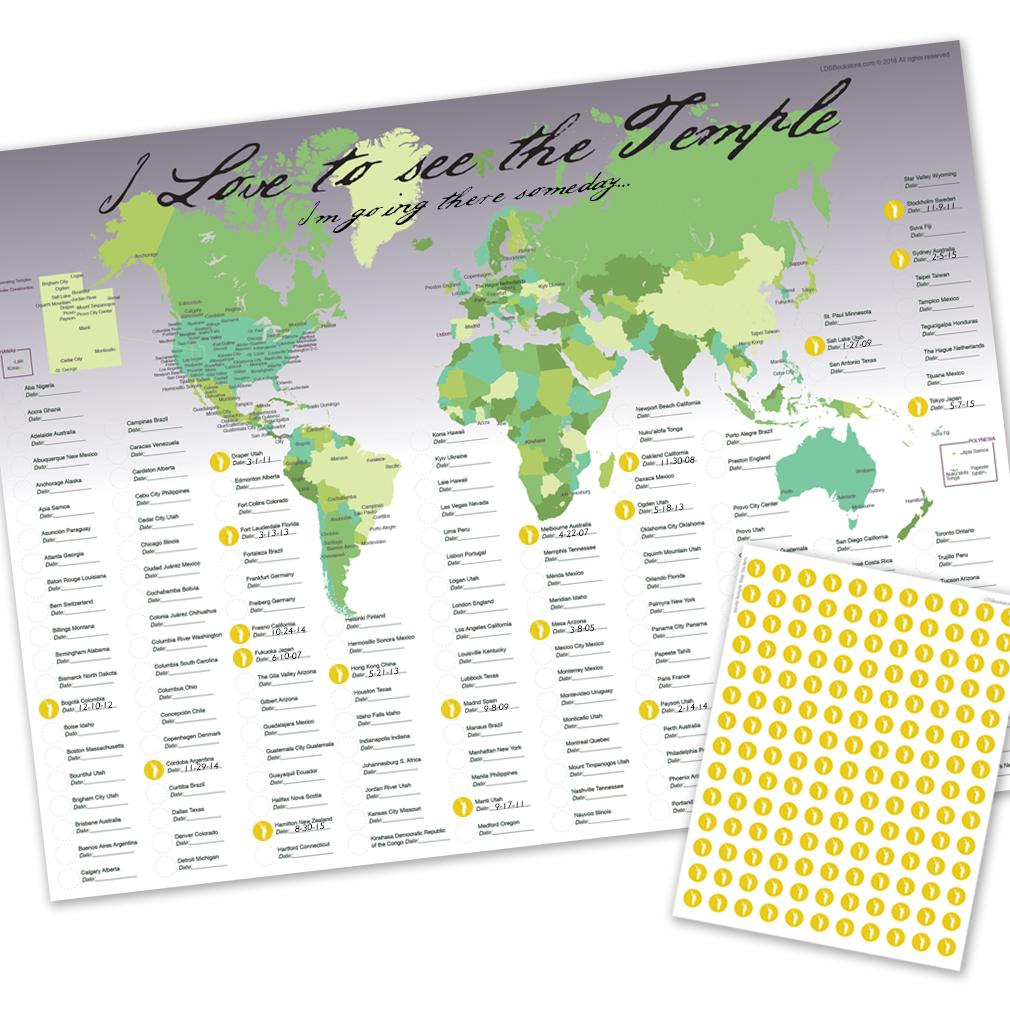 World Temple Map - LDP-PST20229