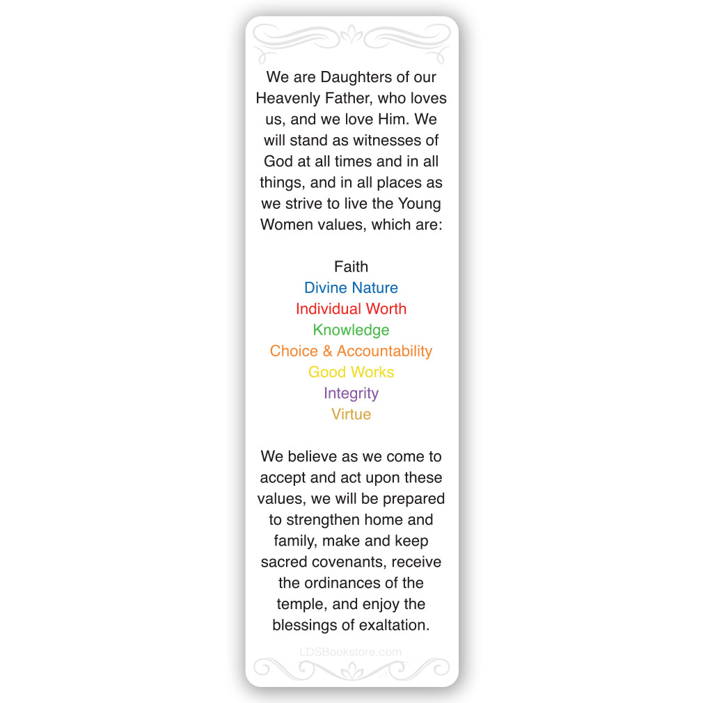 Young Women Values Bookmark - LDP-YWVALUES