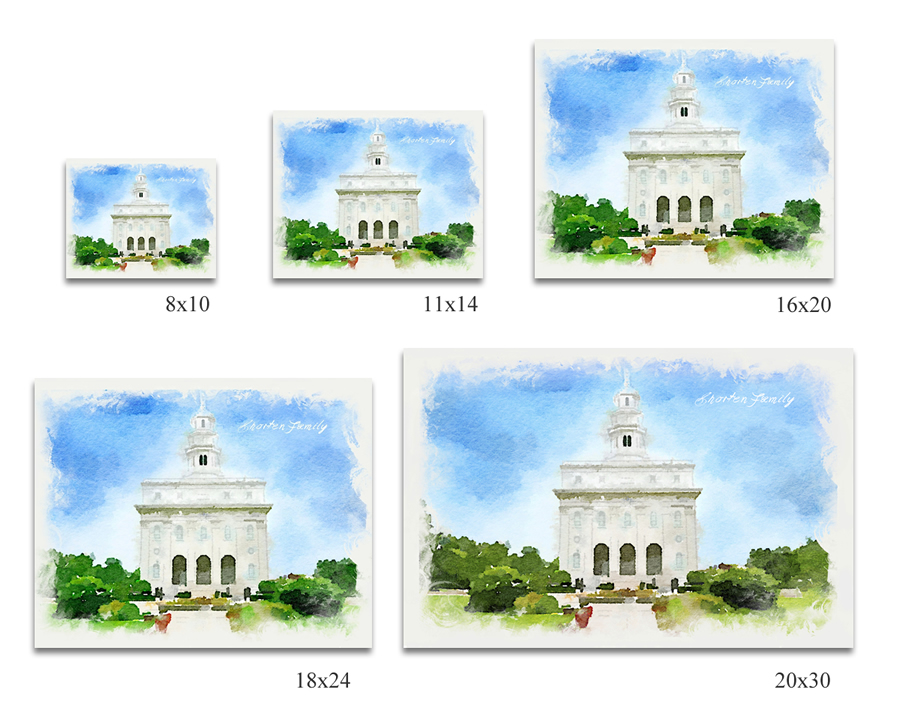 Custom Digital Download Gilbert Temple Watercolor Print