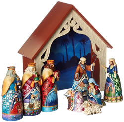 Jim Shore for Enesco 9-Piece Heartwood Creek Deluxe Nativity Set, Mini