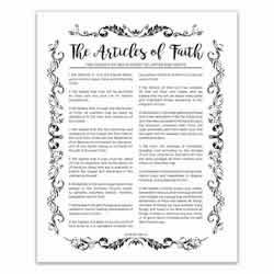 Organic Articles of Faith - Black - Printable articles of faith posters, articles of faith, organic articles of faith, articles of faith printable