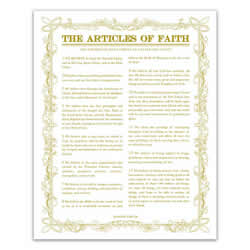Leaf Outline Articles of Faith - Gold - Printable articles of faith posters, articles of faith, leaf outline articles of faith, articles of faith printable
