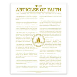 Temple Stamp Articles of Faith - Gold - Printable articles of faith posters, articles of faith, organic articles of faith, articles of faith printable