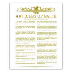 Temple Header Articles of Faith - Gold - Printable