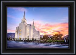 Brigham City Temple Sunrise Horizontal - Framed