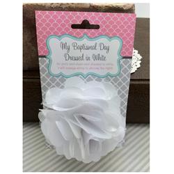 Baptismal Hair Flower - White Lizzy baptism, lds baptism gifts, baptism gifts for girls, hair clip, hair