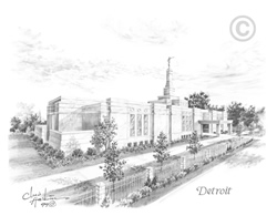Detroit Michigan Temple - Sketch