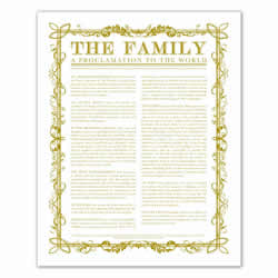 Filled Leaf Family Proclamation - Gold - Printable