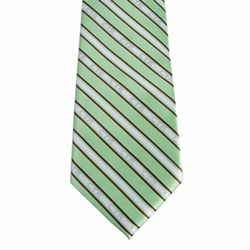 Mens Green and Brown CTR Stripe Tie