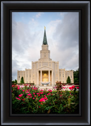 Houston Temple with Flowers - Framed