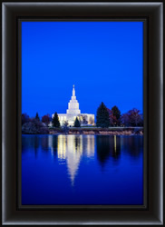 Idaho Falls Temple Blue Twilight - Framed