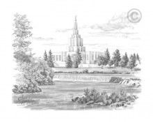 Idaho Falls Idaho Temple - Sketch