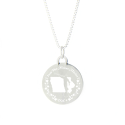 Iowa Mission Necklace - Silver/Gold iowa lds mission jewelry