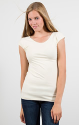 Cream Cap Sleeve Wonder Tee - DE-CAP-CREAM