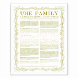 Leaf Outline Family Proclamation - Gold - Printable