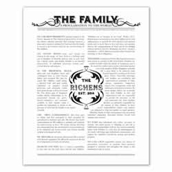 Personalized Newspaper Family Proclamation family proclamation, family proclamation to the world, the family proclamation, black family proclamation, gold family proclamation, charcoal family proclamation, custom family proclamation, personalized family proclamation