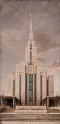 Oquirrh Mountain Temple - Pale Sky Art Nouveau
