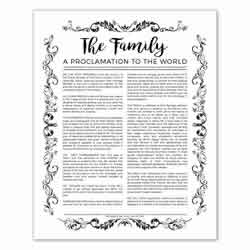 Organic Family Proclamation - Black - Printable family proclamation, family proclamation to the world, the family proclamation, organic family proclamation
