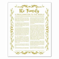 Organic Family Proclamation - Gold - Printable