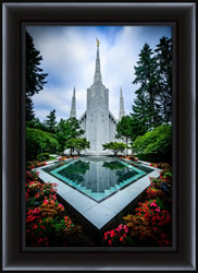 Portland Temple with Reflection - Framed