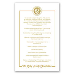 Relief Society Declaration Poster - Gold - Printable