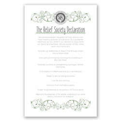 Relief Society Declaration Poster - Green Scroll - Printable