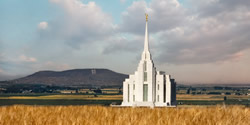 Rexburg Temple & R Mountain - Panoramic