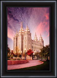 Salt Lake Temple Pink Sunrise - Framed