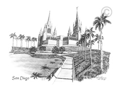 San Diego California Temple - Sketch