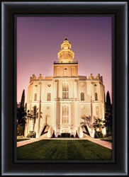 St. George Temple Twilight - Framed