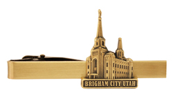 Brigham City Utah Temple Tie Bar - Gold