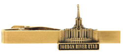 Jordan River Utah Temple Tie Bar - Gold
