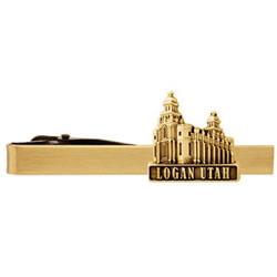 Logan Utah Temple Tie Bar - Gold