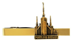 Portland Oregon Temple Tie Bar - Gold