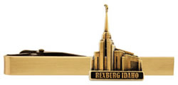 Rexburg Idaho Temple Tie Bar - Gold