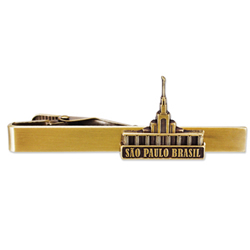 Sao Paulo Brazil Temple Tie Bar - Gold