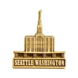 Seattle Washington Temple Pin - Gold