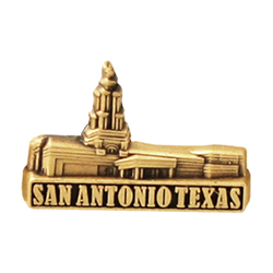 San Antonio Texas Temple Pin - Gold