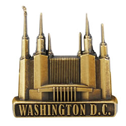 Washington D.C. Temple Pin in a Gold