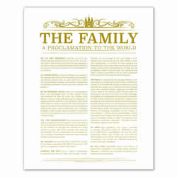 Temple Header Family Proclamation - Gold - Printable