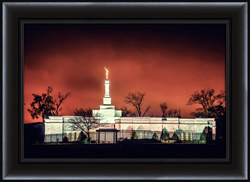 The Baton Rouge Temple Red Night Skies - Framed