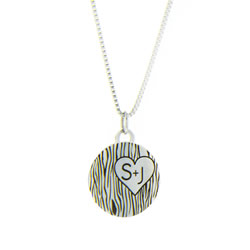 Carved Initials Charm Necklace